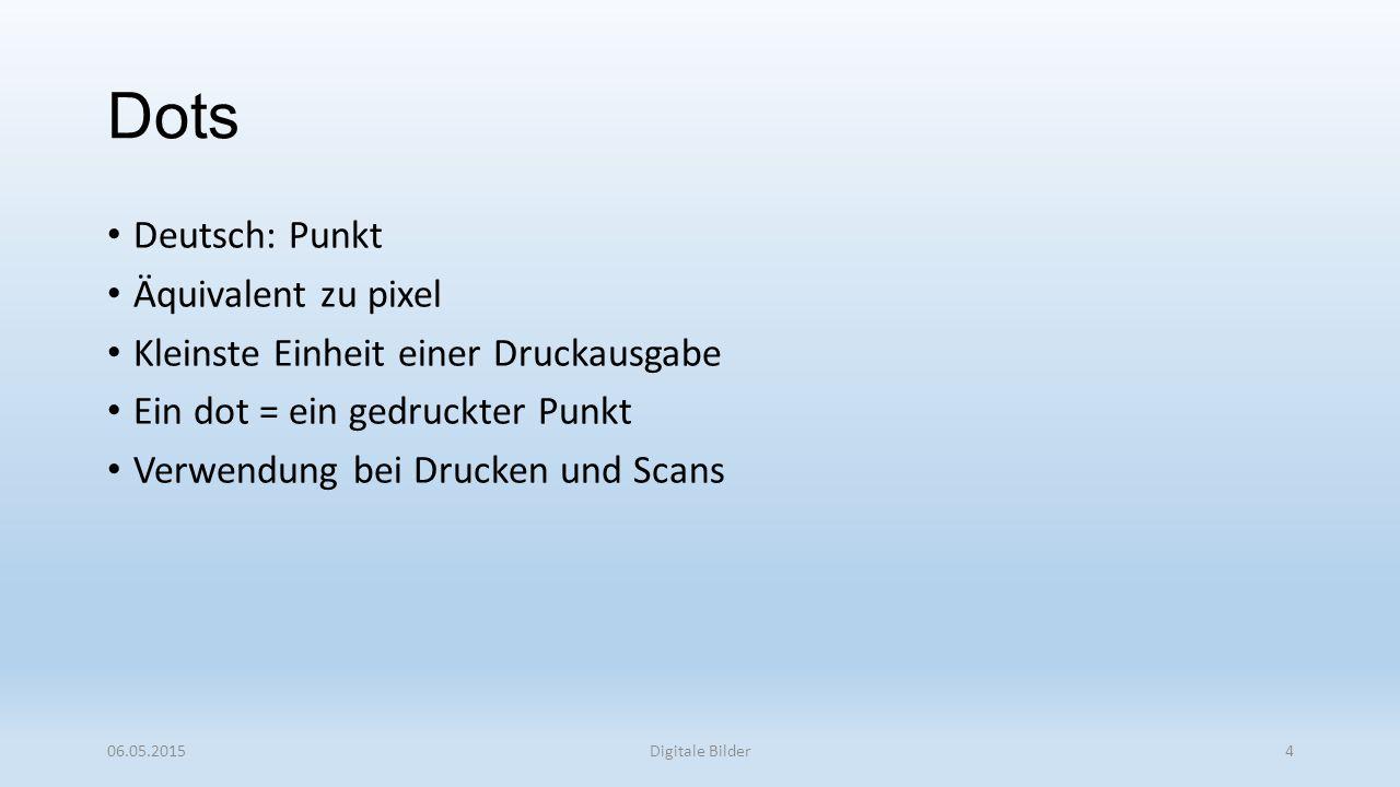 Dots Deutsch: Punkt Äquivalent zu pixel