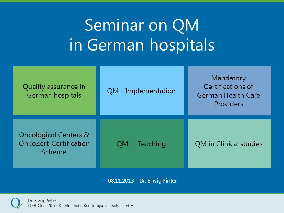 Seminar on QM in German hospitals