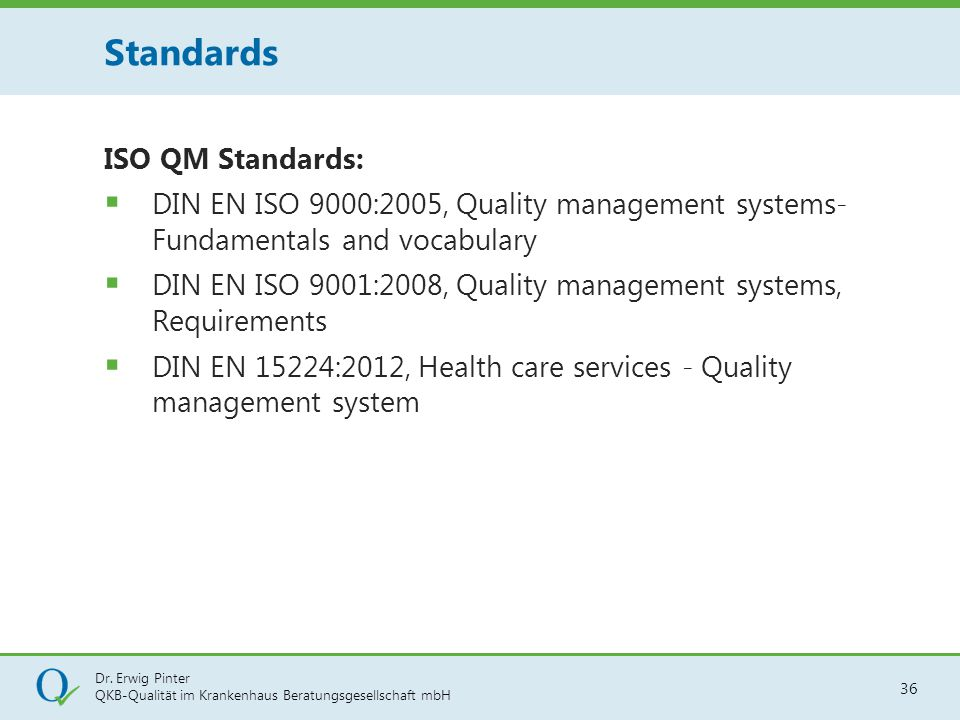 Standards ISO QM Standards: