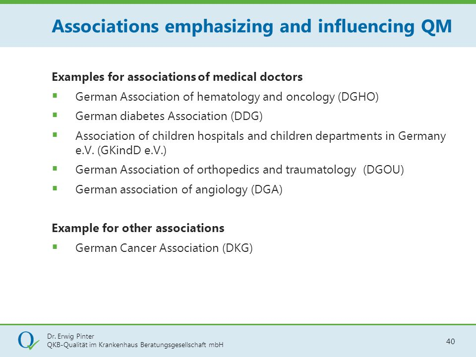 Associations emphasizing and influencing QM