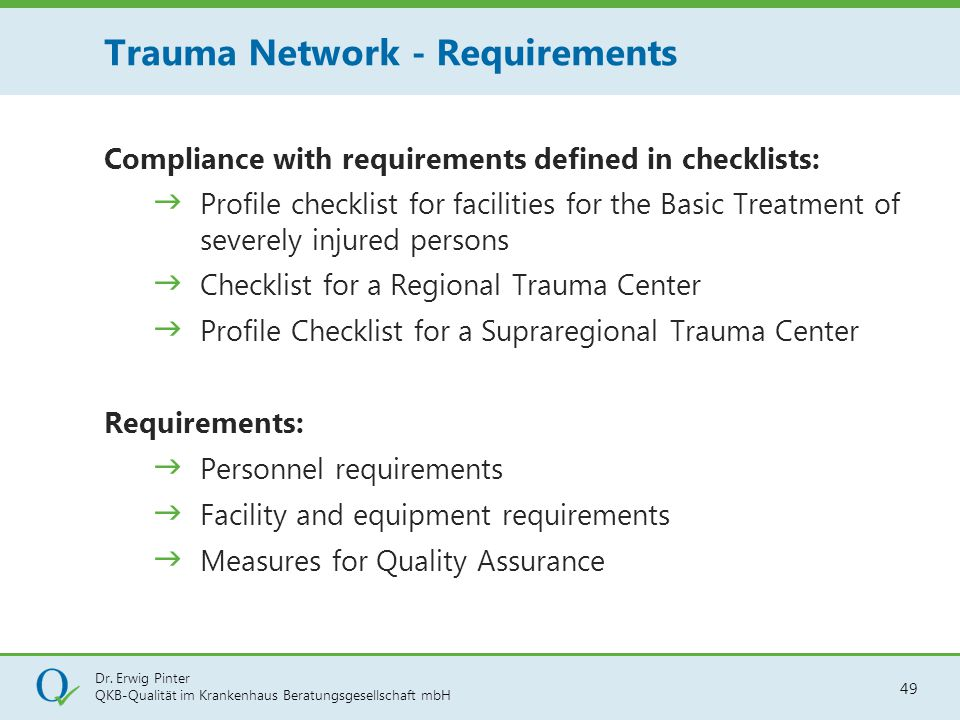 Trauma Network - Requirements