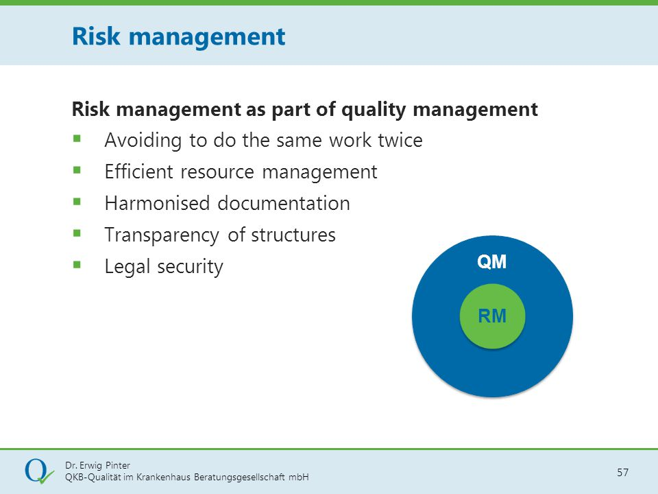 Risk management Risk management as part of quality management