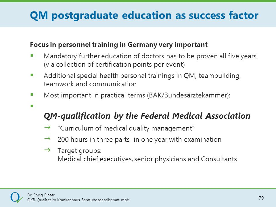 QM postgraduate education as success factor