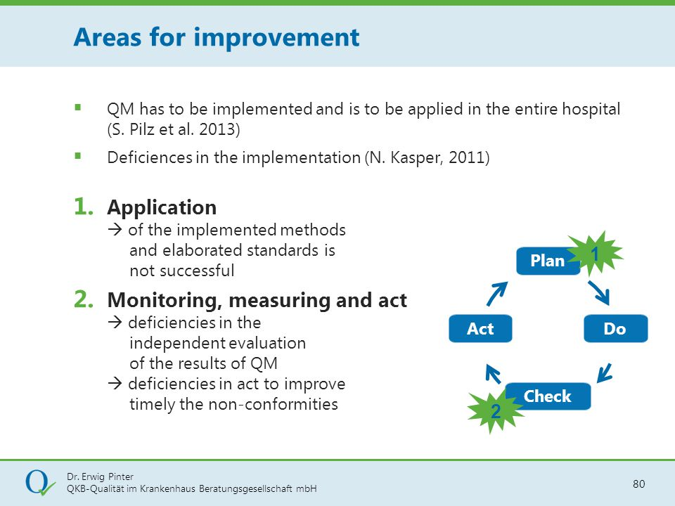 Areas for improvement QM has to be implemented and is to be applied in the entire hospital (S. Pilz et al. 2013)