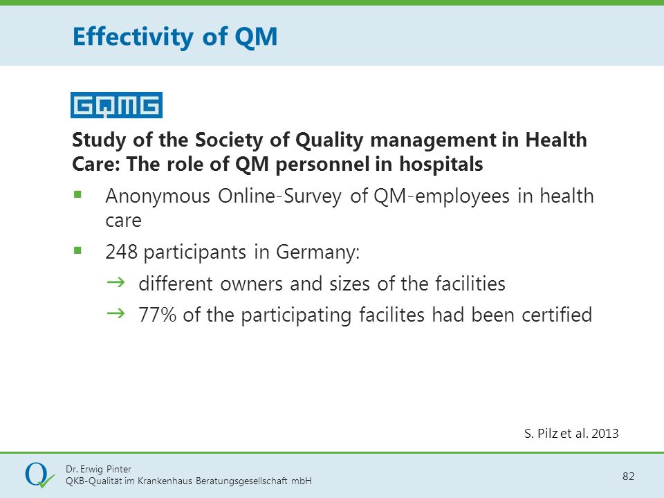 Effectivity of QM Study of the Society of Quality management in Health Care: The role of QM personnel in hospitals.