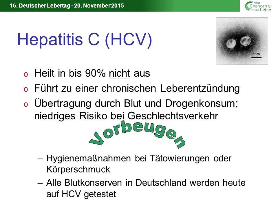 Hepatitis C (HCV) Vorbeugen Heilt in bis 90% nicht aus