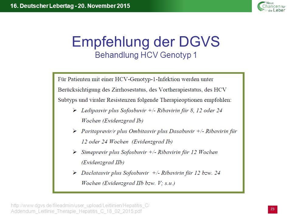Empfehlung der DGVS Behandlung HCV Genotyp 1