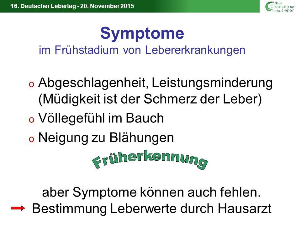 Symptome im Frühstadium von Lebererkrankungen