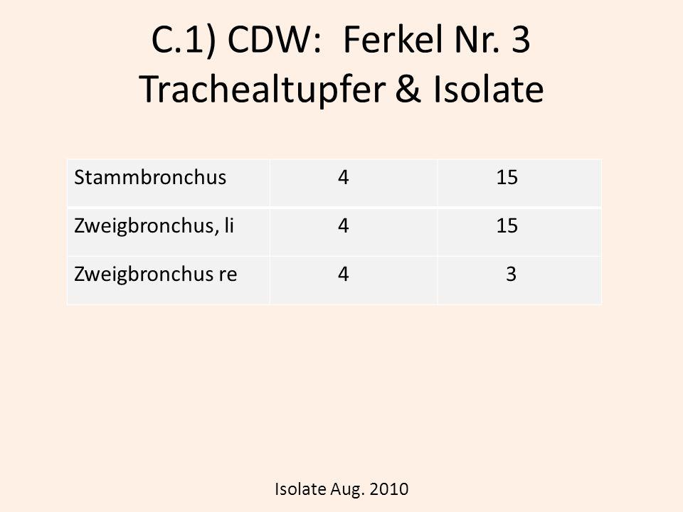 C.1) CDW: Ferkel Nr. 3 Trachealtupfer & Isolate