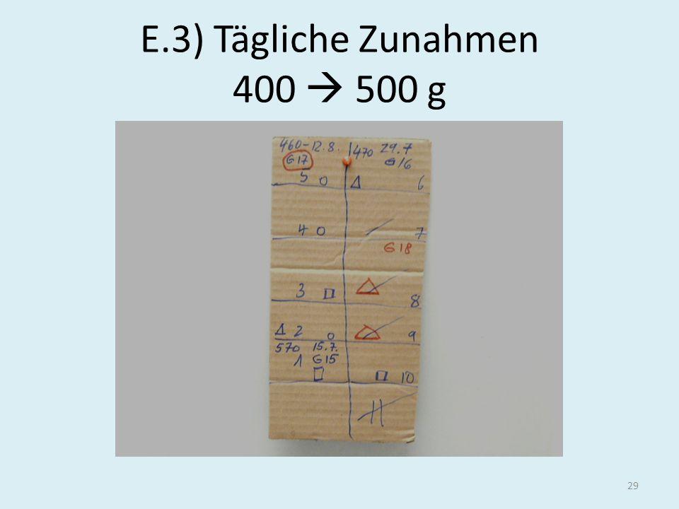 E.3) Tägliche Zunahmen 400  500 g