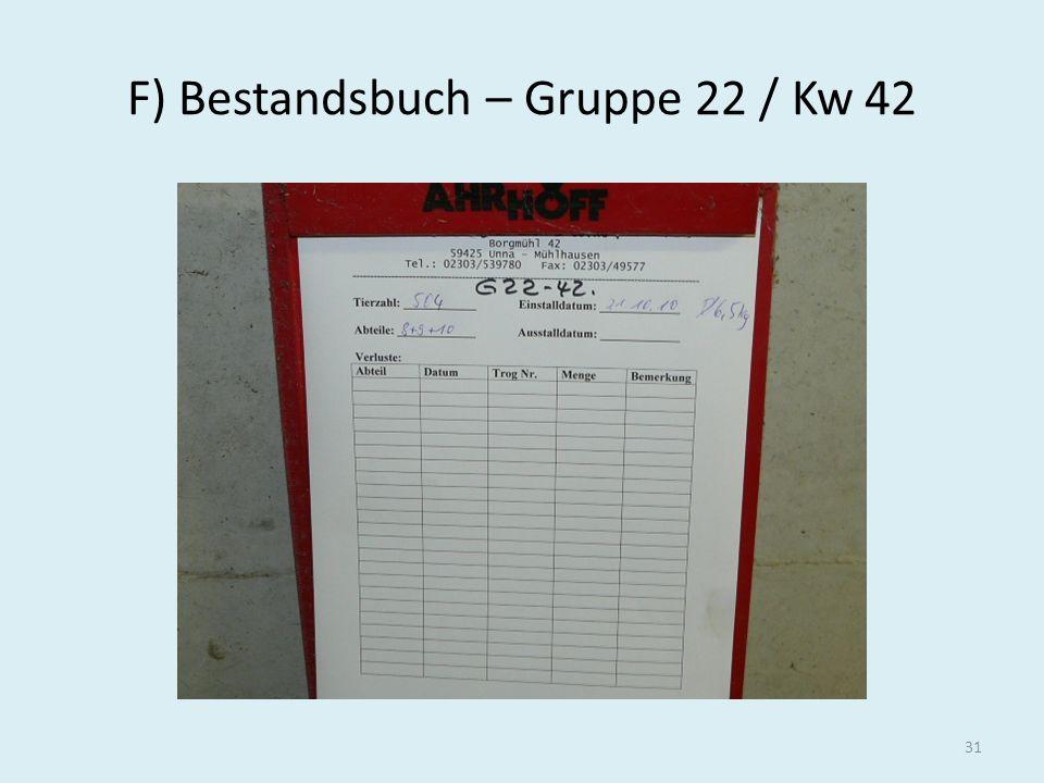 F) Bestandsbuch – Gruppe 22 / Kw 42