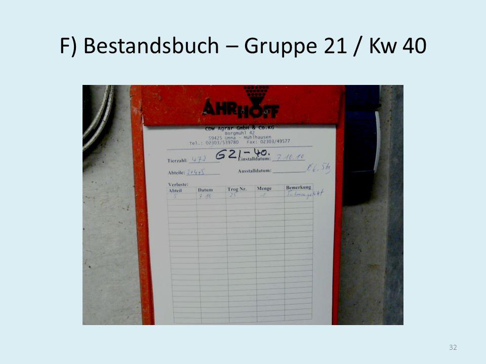 F) Bestandsbuch – Gruppe 21 / Kw 40