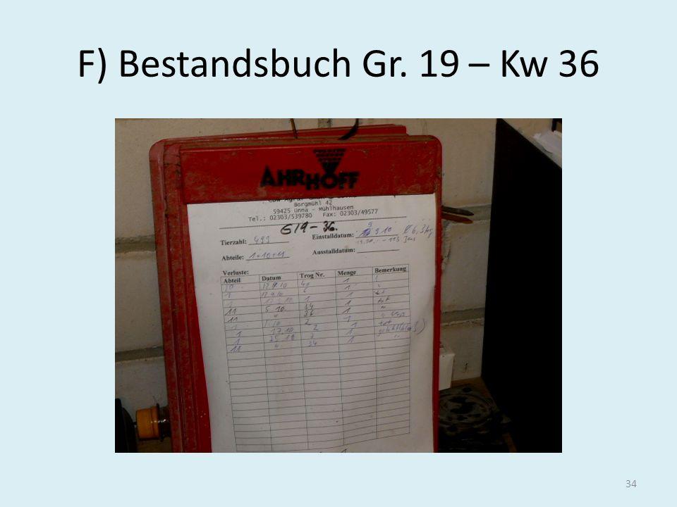 F) Bestandsbuch Gr. 19 – Kw 36