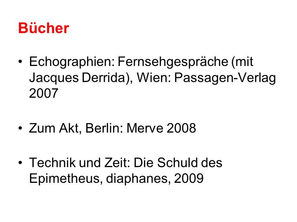 BücherEchographien: Fernsehgespräche (mit Jacques Derrida), Wien: Passagen-Verlag 2007. Zum Akt, Berlin: Merve 2008.