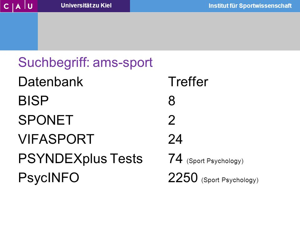 Suchbegriff: ams-sport Datenbank Treffer BISP 8 SPONET 2 VIFASPORT 24 PSYNDEXplus Tests 74 (Sport Psychology) PsycINFO 2250 (Sport Psychology)