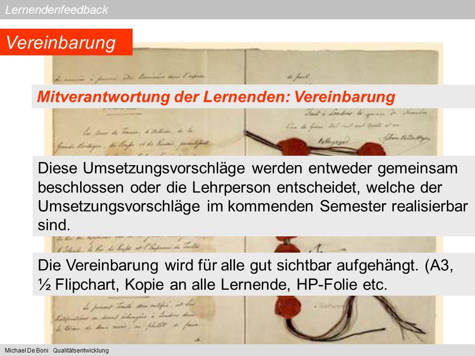 Vereinbarung Mitverantwortung der Lernenden: Vereinbarung