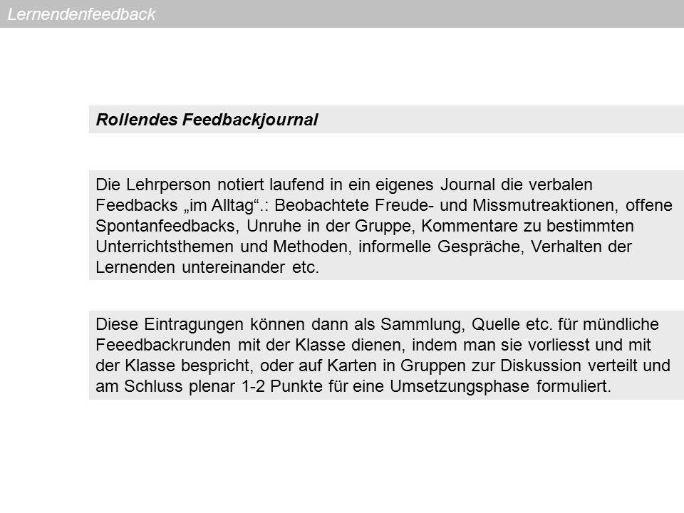 Lernendenfeedback Rollendes Feedbackjournal.