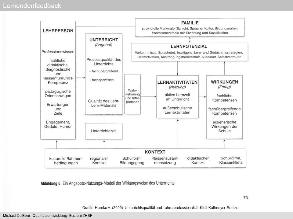 Lernendenfeedback Quelle: Hemke A. (2009): Unterrichtsqualität und Lehrerprofessionalität. Klett-Kallmeyer. Seelze.