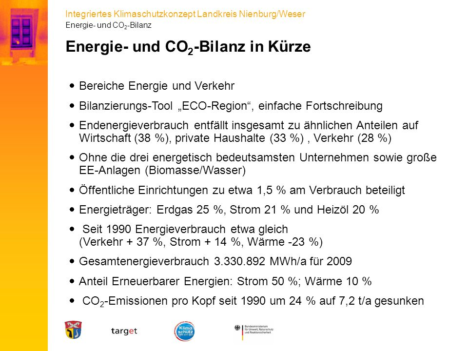 Energie- und CO2-Bilanz in Kürze