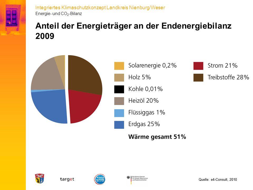 Anteil der Energieträger an der Endenergiebilanz 2009
