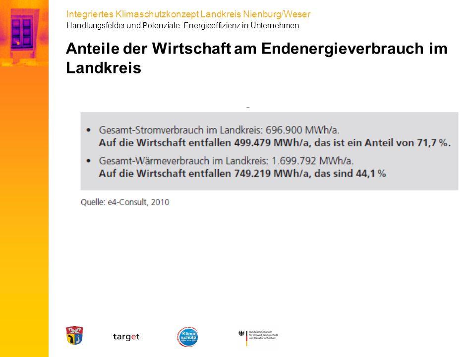 Anteile der Wirtschaft am Endenergieverbrauch im Landkreis
