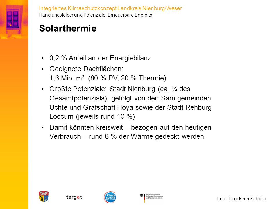 Solarthermie 0,2 % Anteil an der Energiebilanz
