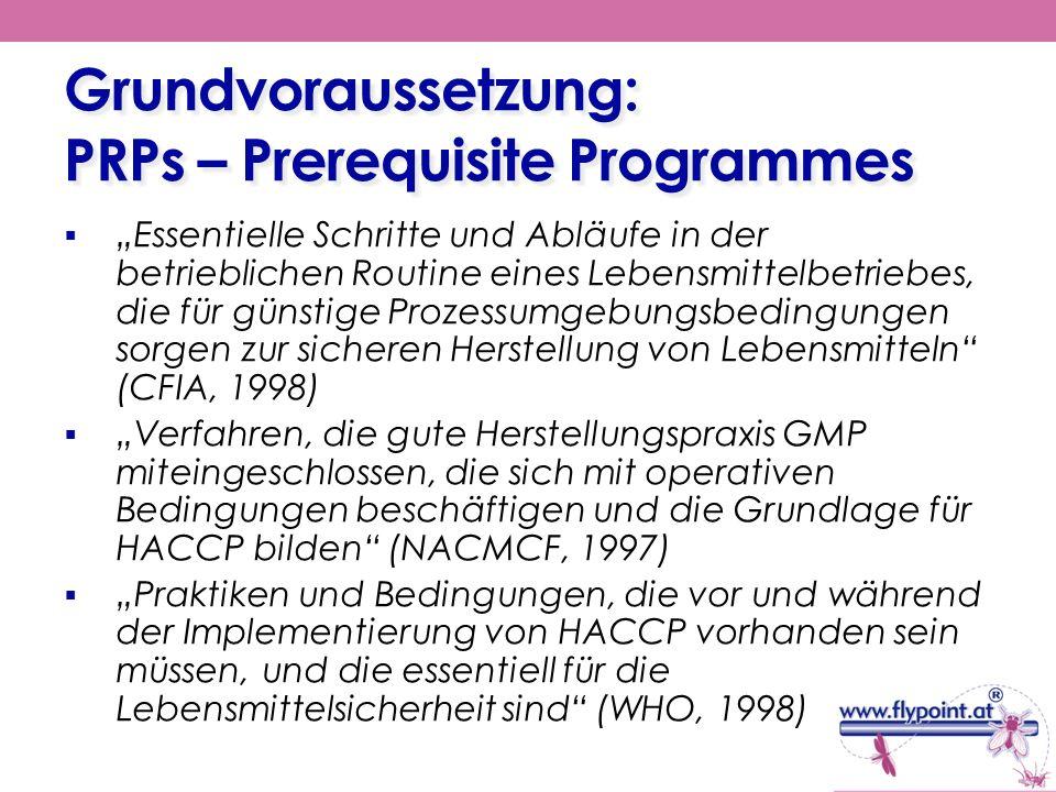 Grundvoraussetzung: PRPs – Prerequisite Programmes