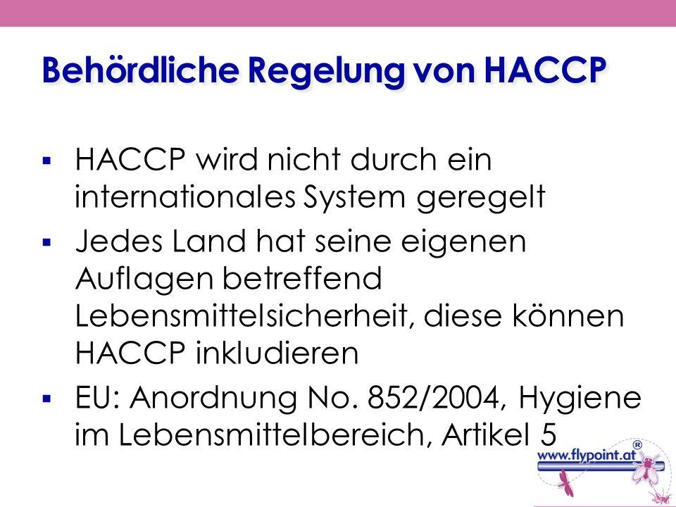 Behördliche Regelung von HACCP
