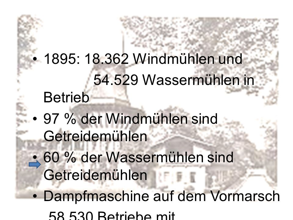 1895: 18.362 Windmühlen und 54.529 Wassermühlen in Betrieb. 97 % der Windmühlen sind Getreidemühlen.