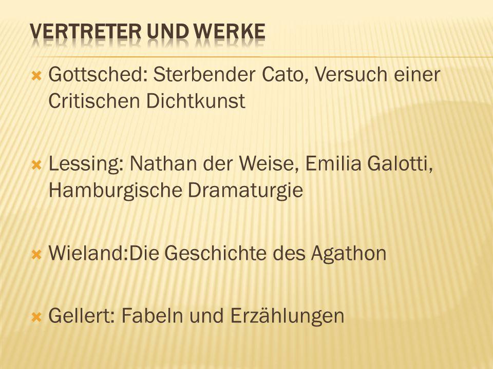 Vertreter und Werke Gottsched: Sterbender Cato, Versuch einer Critischen Dichtkunst.