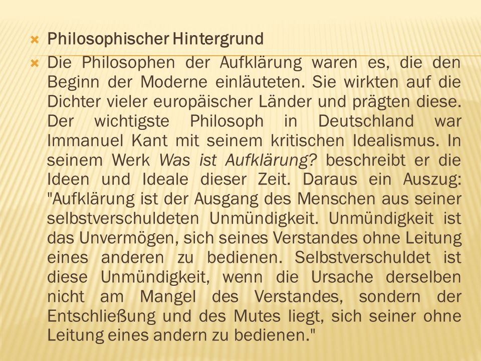 Philosophischer Hintergrund