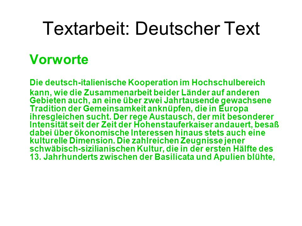 Textarbeit: Deutscher Text