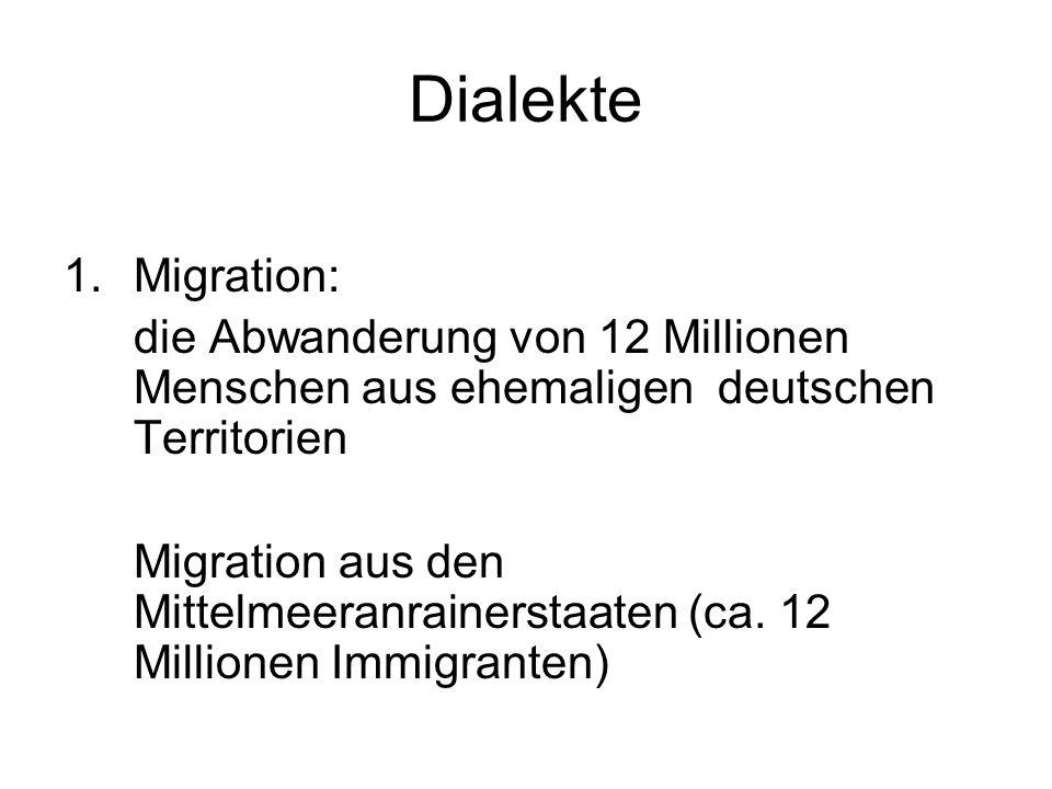 Dialekte Migration: die Abwanderung von 12 Millionen Menschen aus ehemaligen deutschen Territorien.