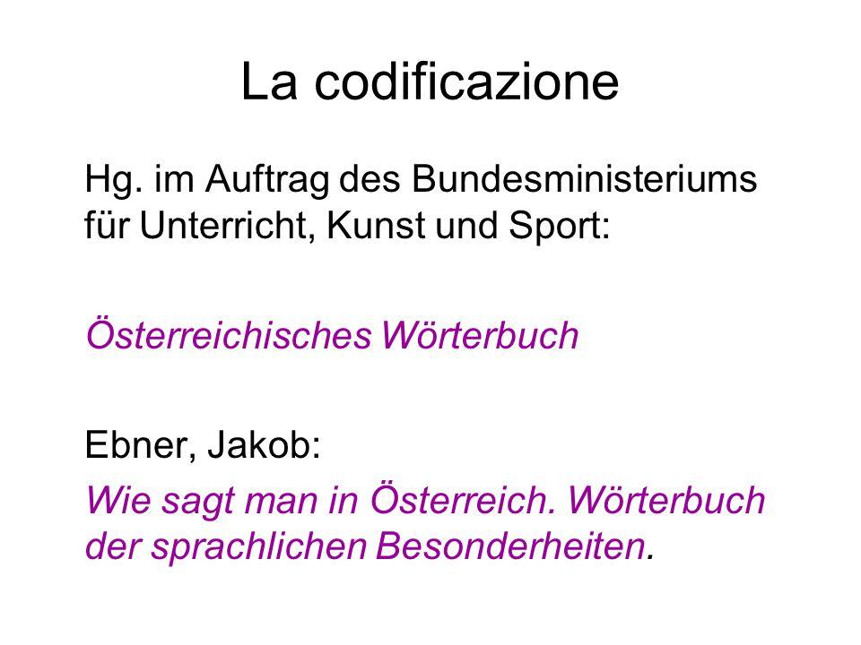 La codificazione Hg. im Auftrag des Bundesministeriums für Unterricht, Kunst und Sport: Österreichisches Wörterbuch.