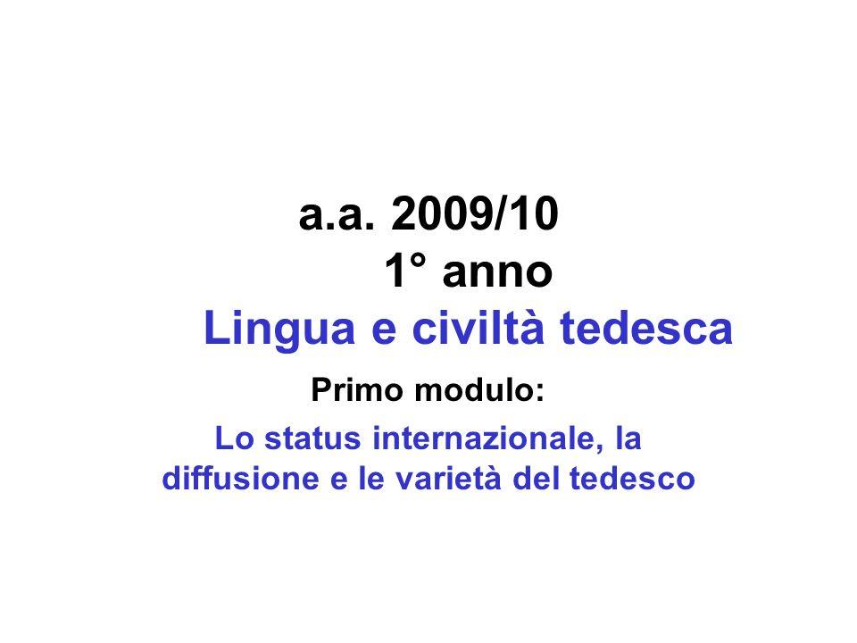 a.a. 2009/10 1° anno Lingua e civiltà tedesca