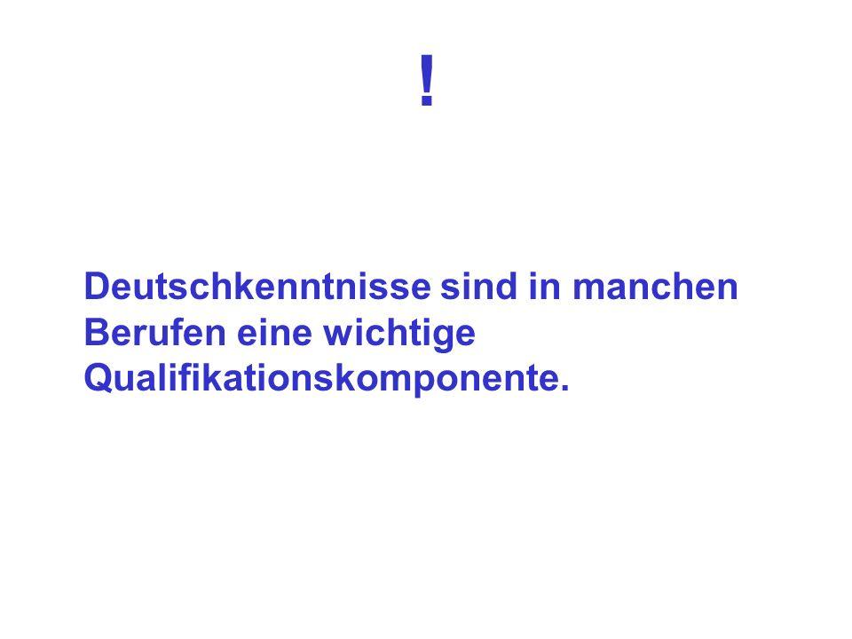 ! Deutschkenntnisse sind in manchen Berufen eine wichtige Qualifikationskomponente.