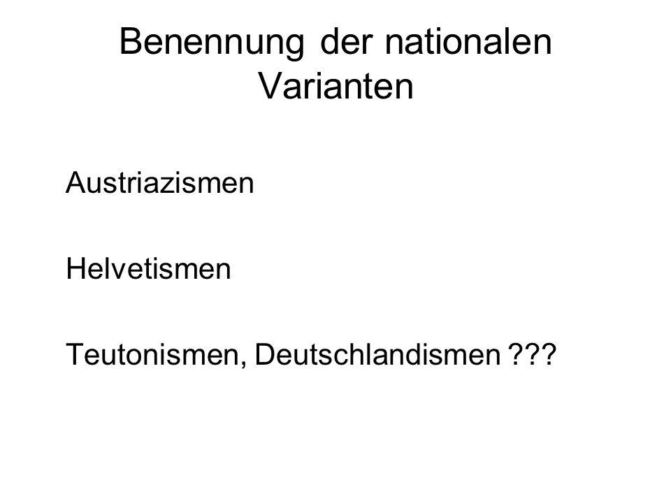 Benennung der nationalen Varianten