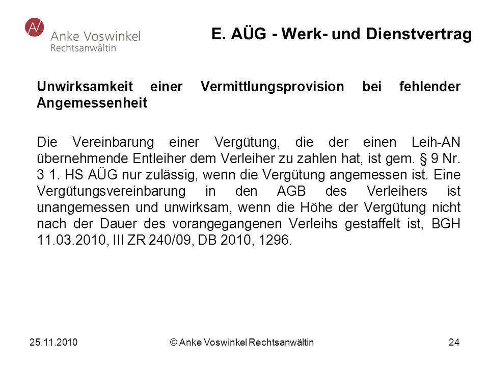 E. AÜG - Werk- und Dienstvertrag