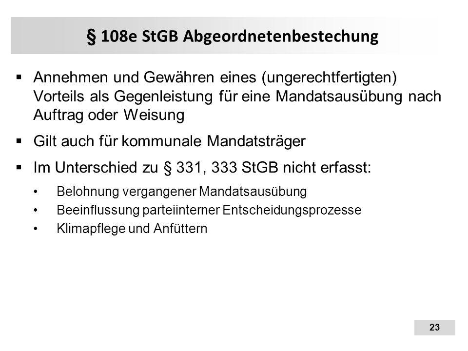 § 108e StGB Abgeordnetenbestechung