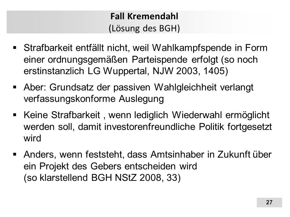 Fall Kremendahl (Lösung des BGH)