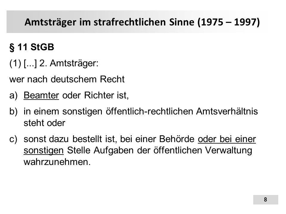 Amtsträger im strafrechtlichen Sinne (1975 – 1997)