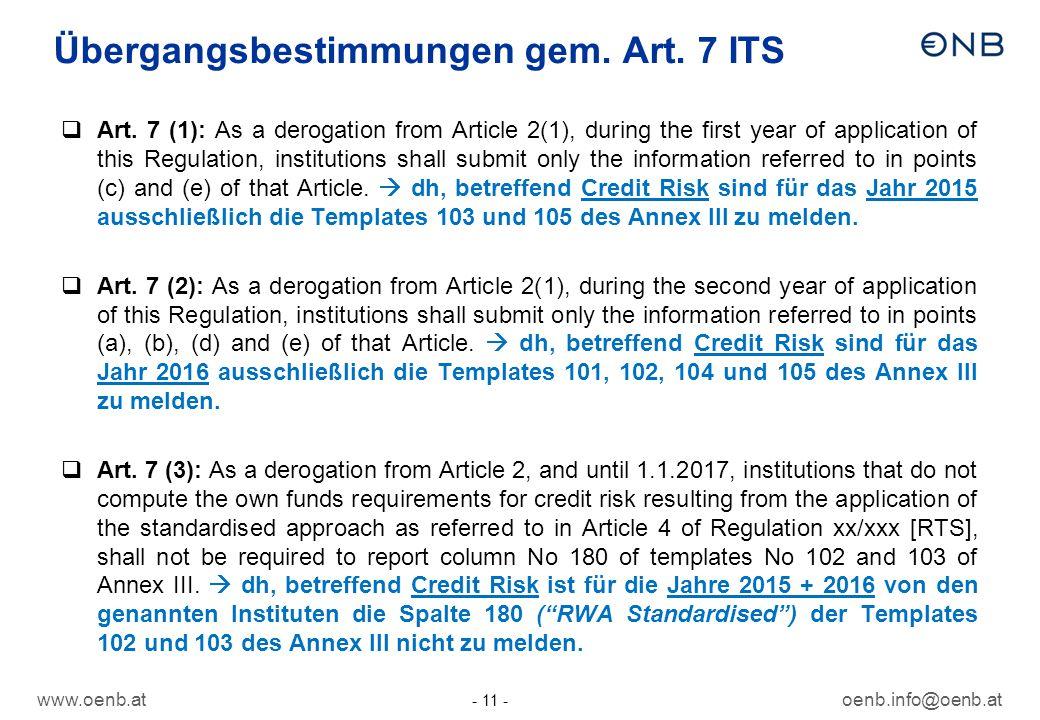 Übergangsbestimmungen gem. Art. 7 ITS