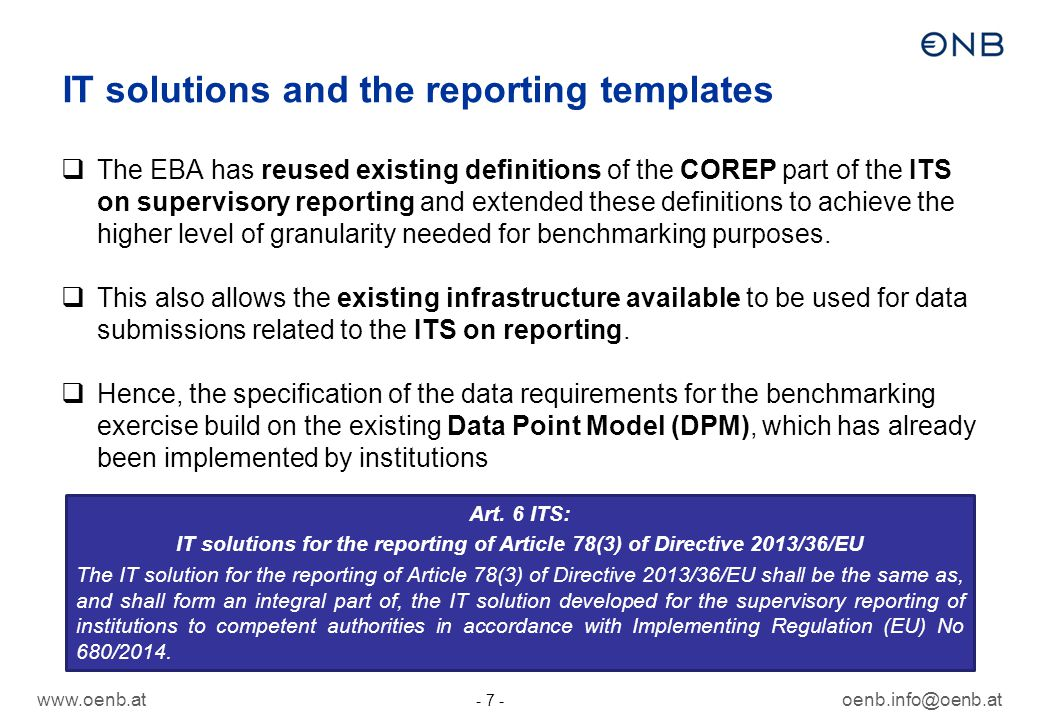 IT solutions and the reporting templates