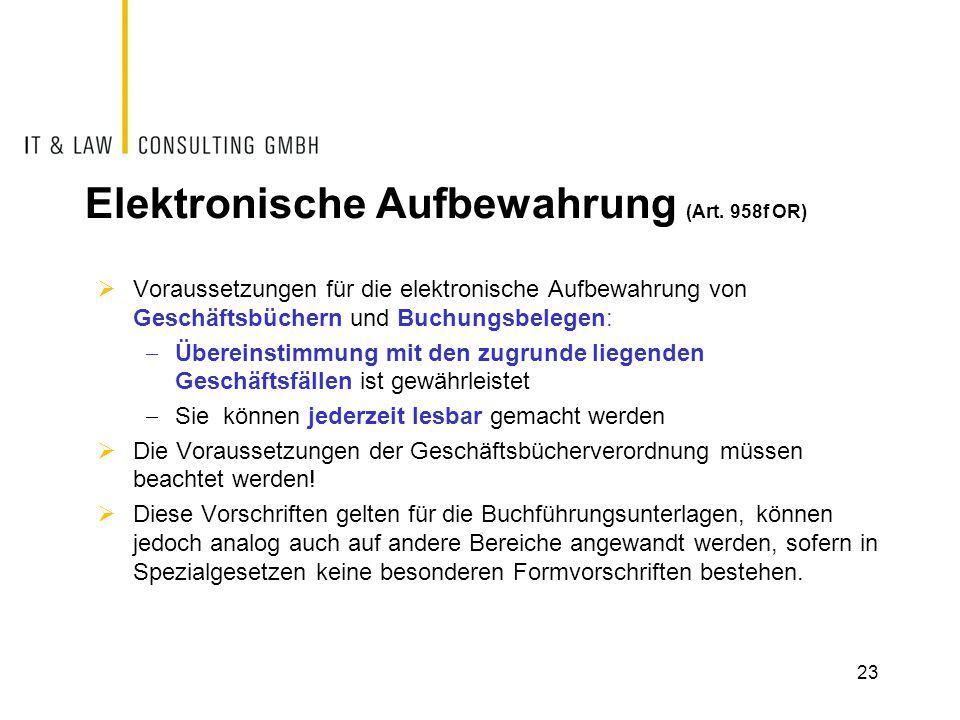 Elektronische Aufbewahrung (Art. 958f OR)