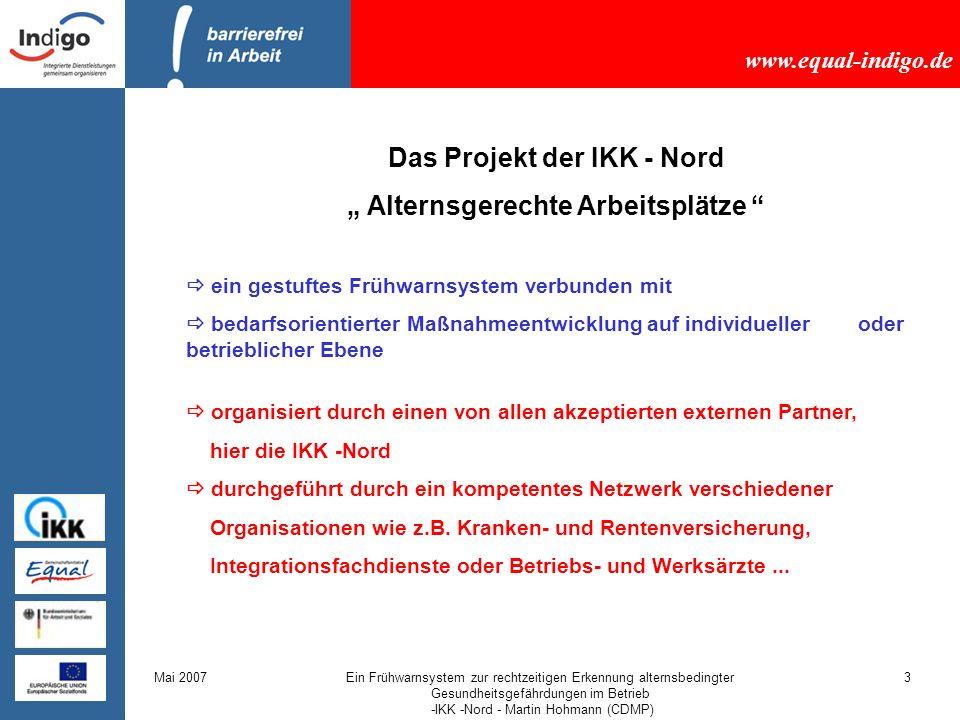 """Das Projekt der IKK - Nord """" Alternsgerechte Arbeitsplätze"""