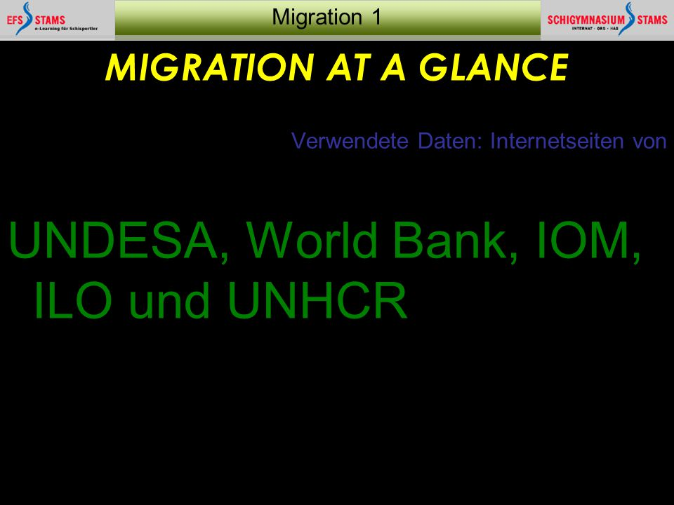 UNDESA, World Bank, IOM, ILO und UNHCR