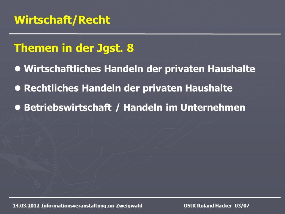 Wirtschaft/Recht Themen in der Jgst. 8