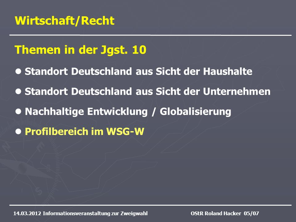 Wirtschaft/Recht Themen in der Jgst. 10