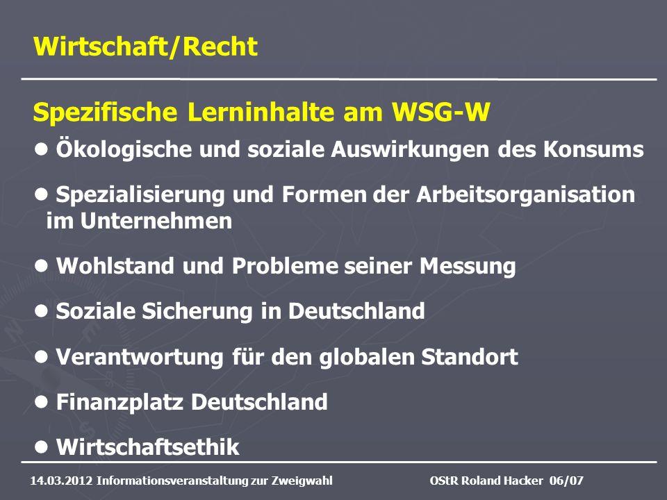Spezifische Lerninhalte am WSG-W