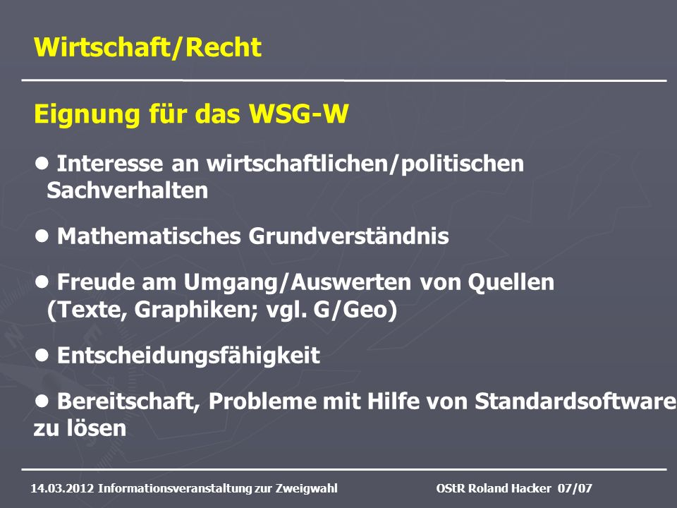 Wirtschaft/Recht Eignung für das WSG-W